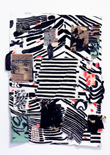 graphic composition of black and white stripes with pops of color