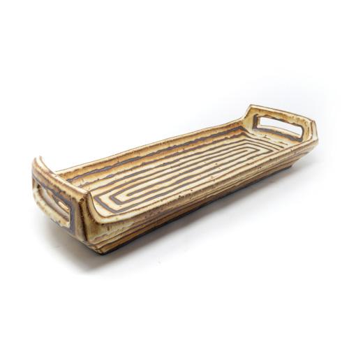 Striped ceramic tray in brown/cream by Courtney Martin