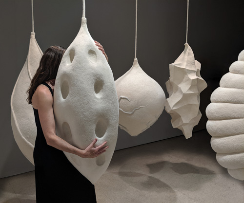 installation of large, textured pod sculptures