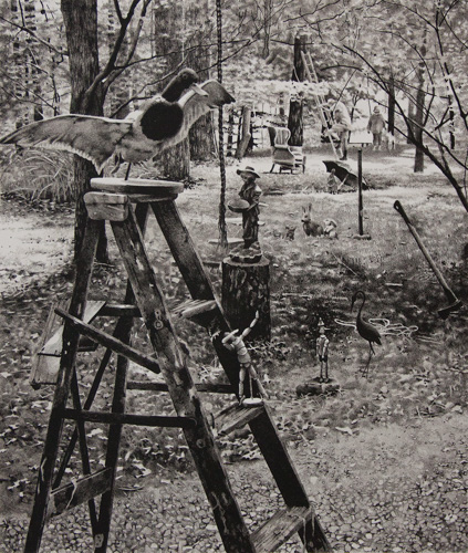 black and white outdoor scene with ladders, statues, and various objects about