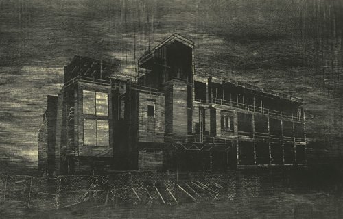night scene of a derelict or under-construction building