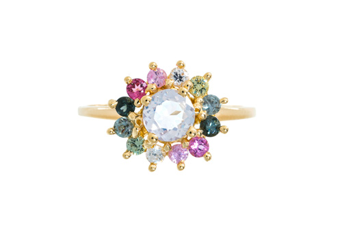 gold band with pink, green, and white jewels