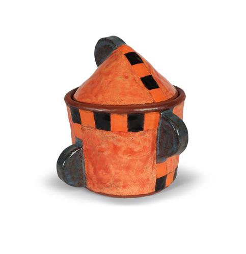 Orange and black ceramic jar by Holly Walker