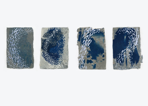 four abstract compositions of blue and white on gray paper