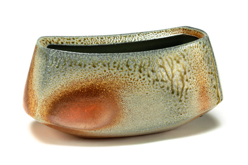 "William Baker, ""Rectangle Vase,"" wood- and soda-fired stoneware, 7 x 15 x 5 inches"