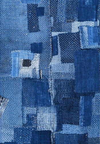 stitched and pieced indigo cloth
