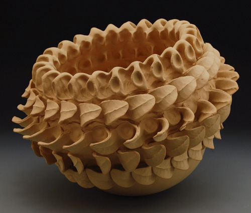 "Paul Briggs, ""Calyx Cauldron,"" unglazed stoneware, 10-1/2 x 12-1/2 inches"
