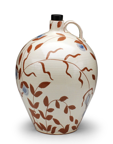 "Ben Carter, ""Thicket Jug,"" earthenware, slips, underglaze, glaze, 10 x 6 x 6 inches"