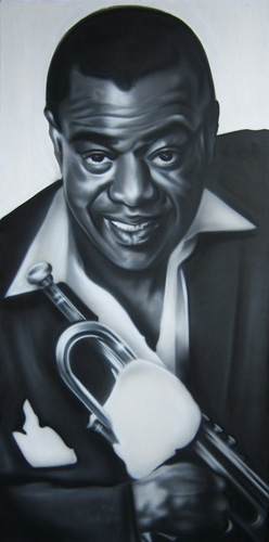 "Brandon J. Donahue, ""Satchmo,"" acrylic on canvas, 48 x 24 inches"