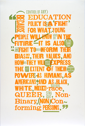letterpress poster about education policy printed in orange and green