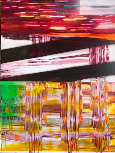 "Pinkney Herbert, ""Slippery Slope,"" oil, digital print, wood, 48 x 36 inches"