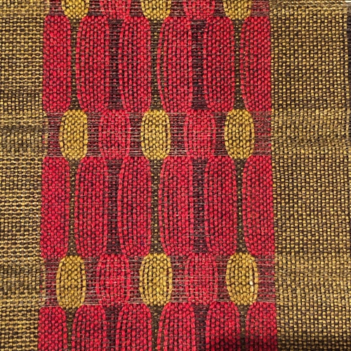 woven pattern in gold and red