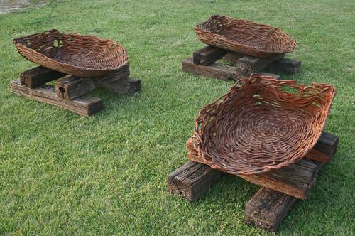 three cast baskets