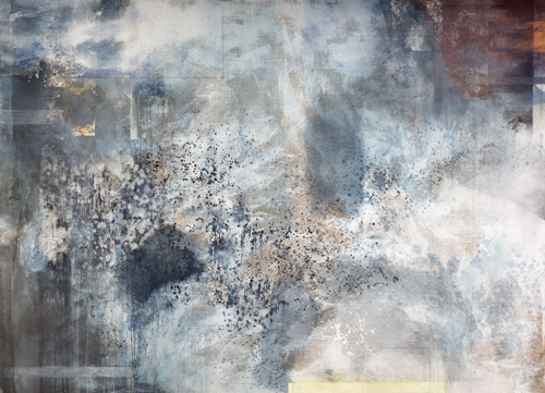 "Judith Kruger, ""Getty Shadows,"" mineral pigments, indigo, shell white, oxidized pure silver, copper, linen, 42 x 58 inches"