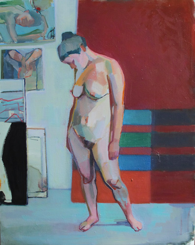 painting of a female nude against a background of red