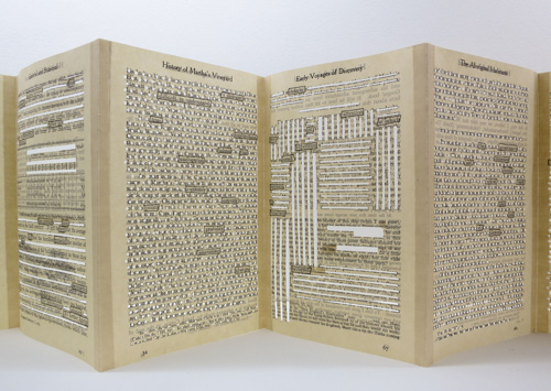 "Julie Leonard, ""A History of…Vol.I,"" erasure text, found pages, wax graphite, 6 x 9 inches closed"