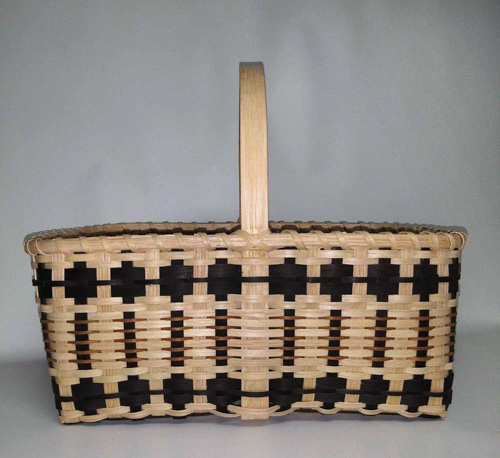 rectangular basket with weaving in multiple shades