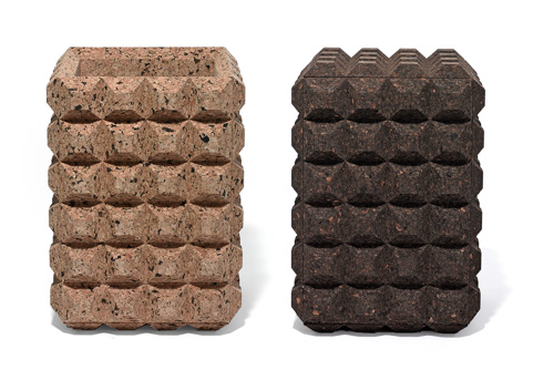 two textured cork stools, one light and one darker