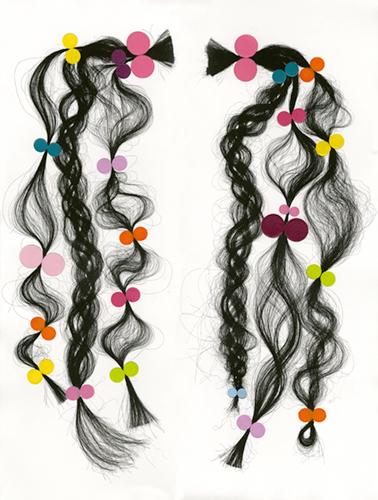 print of two pigtails elaborately braided and tied with colorful bows