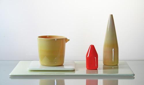 """David Naito, """"Kilta in Creme and Orange,"""" blown and fused glass, 6-1/2 x 14 x 9-1/2 inches"""
