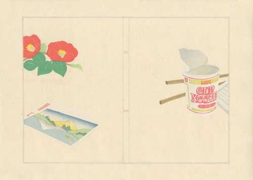 print of flowers, a landscape postcard, and Cup Noodles with chopsticks