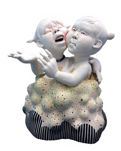 """Kyungmin Park, """"Shall We?,"""" porcelain, underglaze, glaze, zirconia, 16 x 14 x 14 inches"""