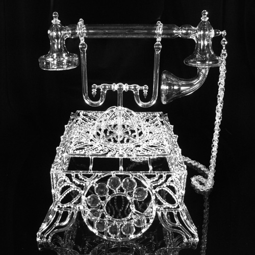 Flameworked glass telephone by Kit Paulson