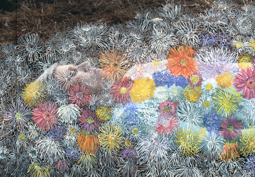 "Evie Woltil Richner, ""Burying My Mother"" (detail), gouache on digital print"