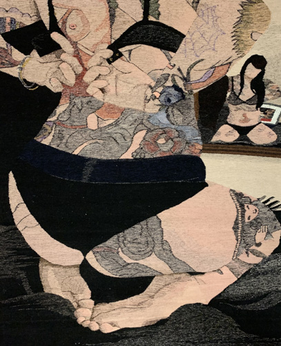 tapestry of a tattooed woman in her underwear in front of a mirror