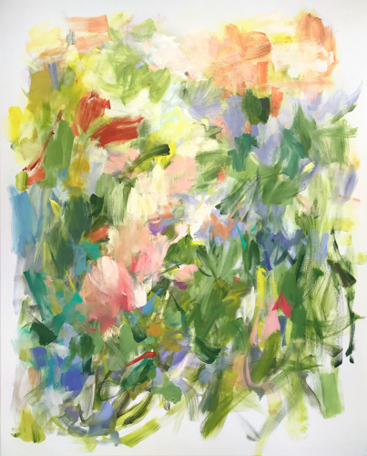 Abstract brushstroke composition in greens, coral, orange, and lavender