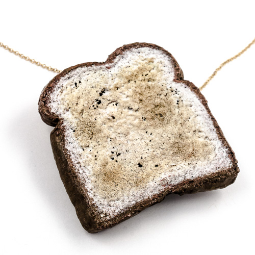 electroformed piece of bread as a pendant