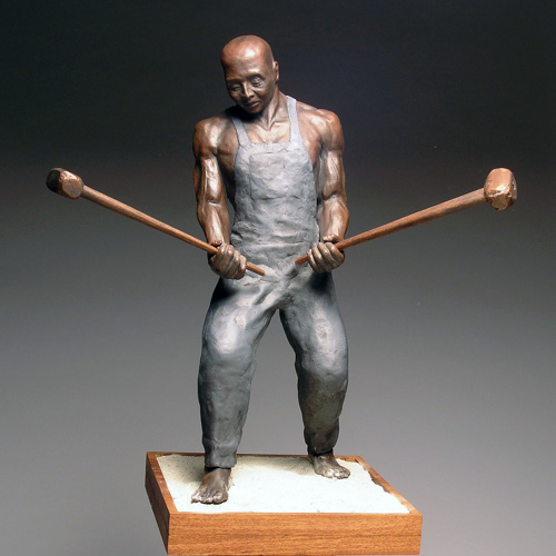 "Keith Wallace Smith, ""John Henry, The Rise,"" ceramic, 16 x 10 x 8 inches"