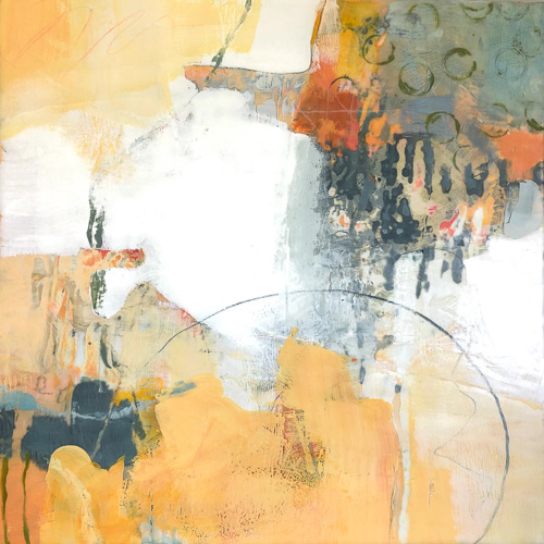 abstract composition in shades of peach, blue-grey, and white