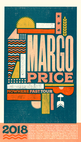 tour poster with graphic shapes in shades of orange, coral, and teal
