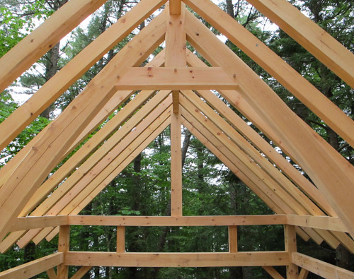 triangular forms of a timber framed roof