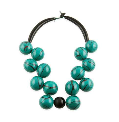 Necklace of large aqua and black striped beads