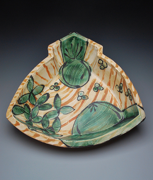 ceramic tray with green floral motifs