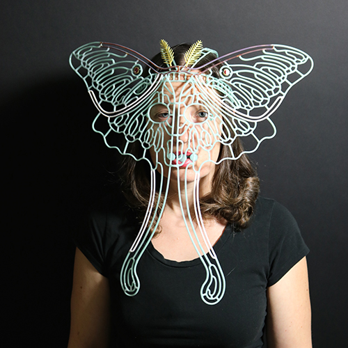 flameworked glass moth mask by Kit Paulson