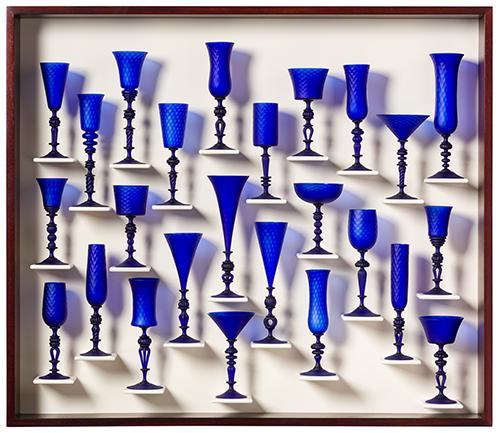25 cobalt blue stemmed glasses by Kenny Pieper