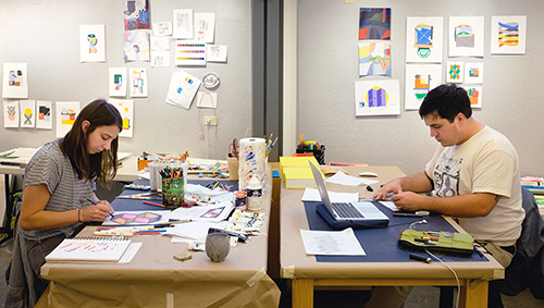 two students in the drawing studio