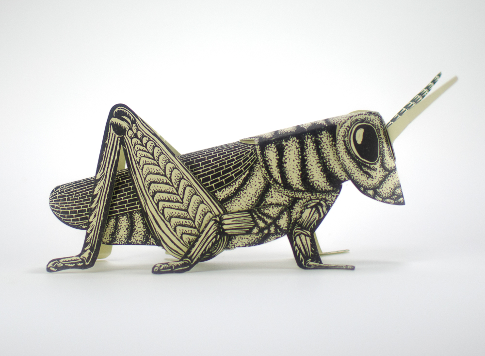 Printed paper grasshopper sculpture
