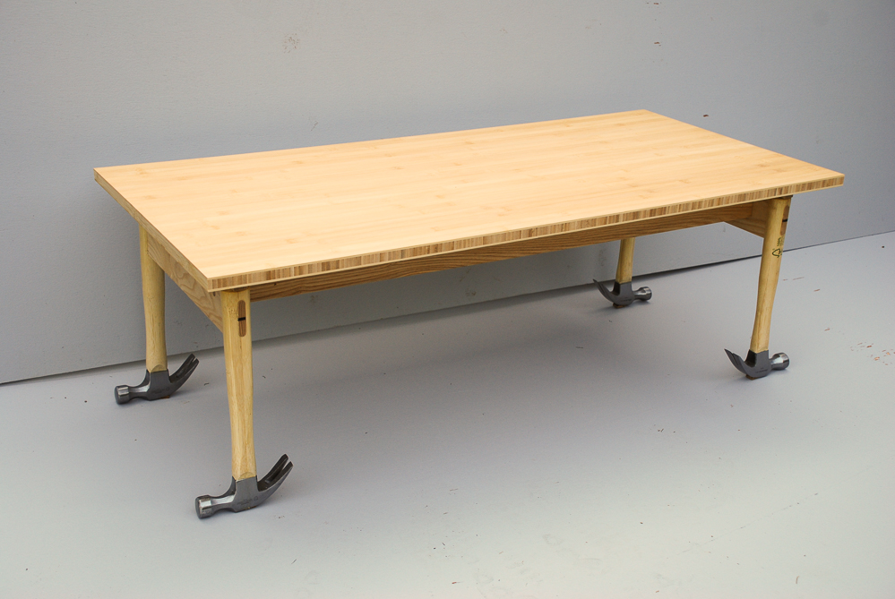 bamboo table with hammer legs