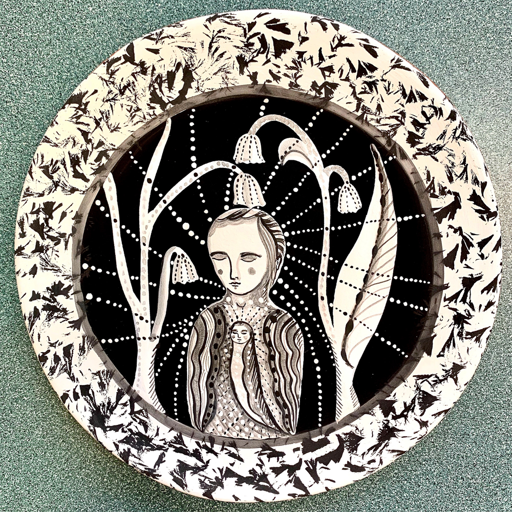 intricately decorated ceramic plate