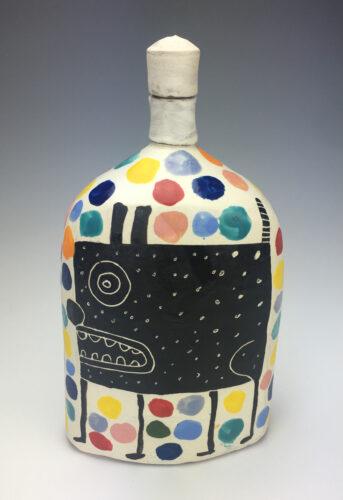 Kurt Anderson, Oval Flask with Dog, stoneware, slip, underglaze, glaze, 12 x 7 x 3 inches