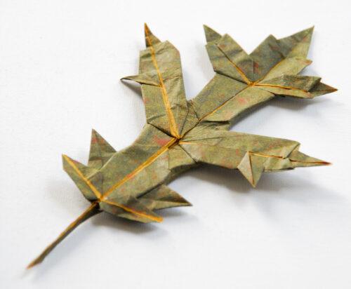 Brian Chan, Oak Leaf, handmade Origamido paper, 6 x 3 x 1/2 inches