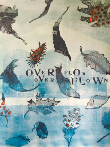 Stuart Kestenbaum and Susan Webster, Overflow, monotype, letter-stamped text, 22 x 15 inches
