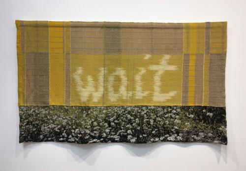 Amanda Thatch, Wait (Summer), handwoven cloth, silk, Tencel, natural dyes; warp ikat, 24 x 40 inches